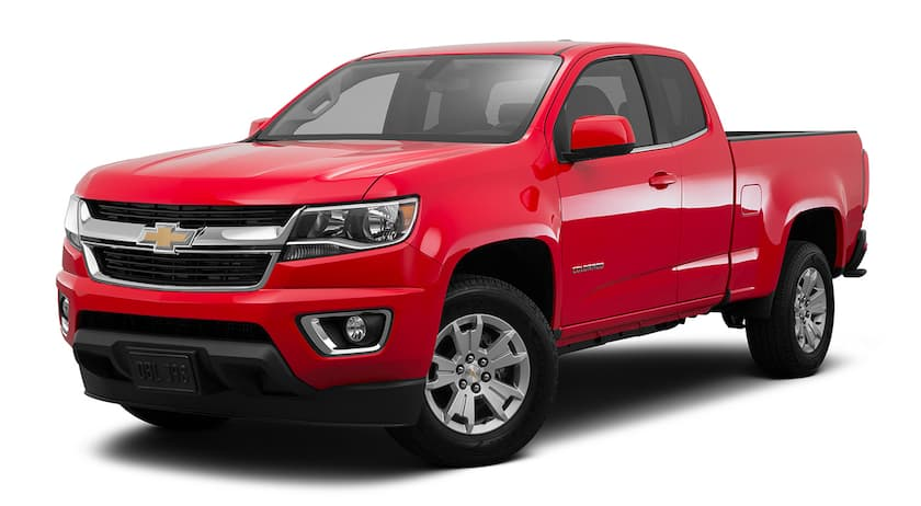 A red 2016 Chevy Colorado is facing left.