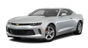 A silver 2016 Chevy Camaro is facing left.