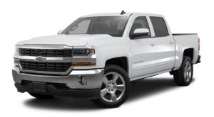 A white 2016 Chevy Silverado is facing left.