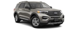 A gray 2020 Ford Explorer is angled right.
