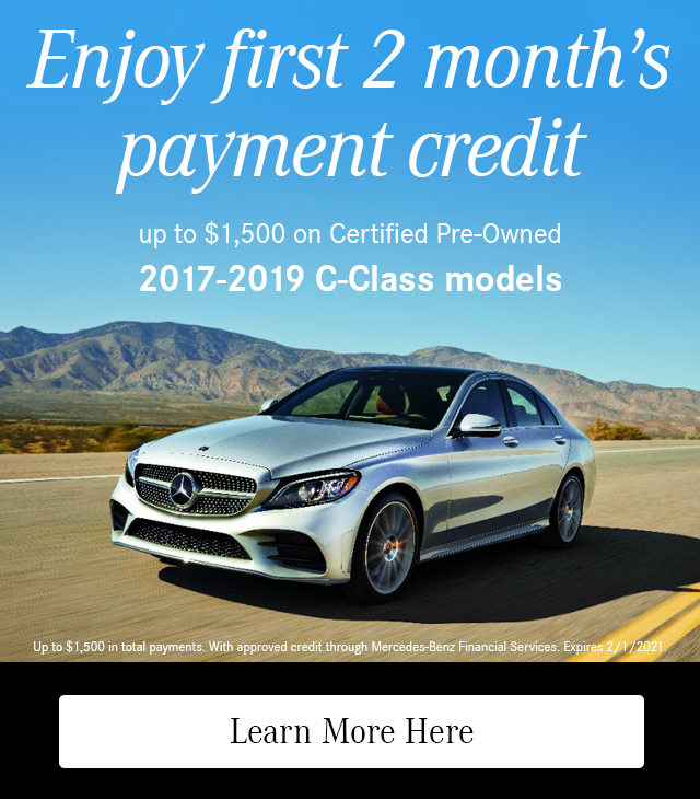 Enjoy First 2 Month's Payment Credit on CPO 2017-19 C-Class models