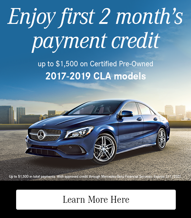 Enjoy First 2 Month's Payment Credit on CPO 2017-19 CLA models