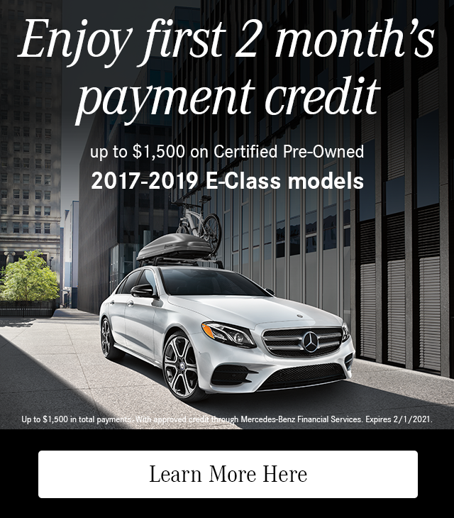 Enjoy First 2 Month's Payment Credit on CPO 2017-19 E-Class models