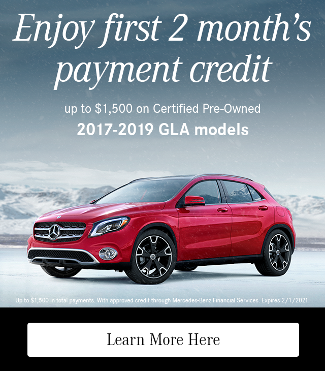 Enjoy First 2 Month's Payment Credit on CPO 2017-19 GLA models