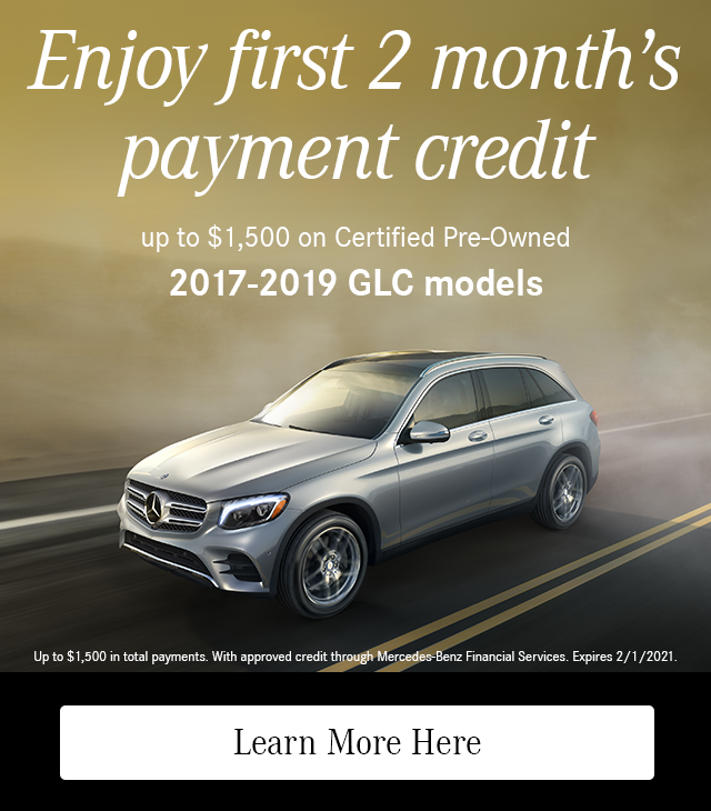 Enjoy First 2 Month's Payment Credit on CPO 2017-19 GLC models