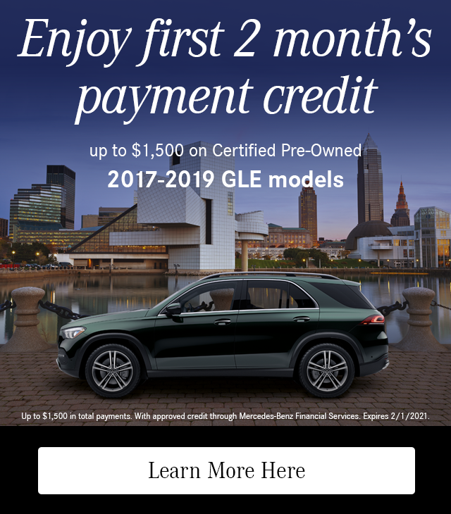 Enjoy First 2 Month's Payment Credit on CPO 2017-19 GLE models