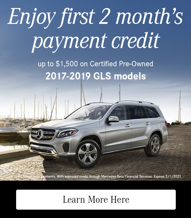 Enjoy First 2 Month's Payment Credit on CPO 2017-19 GLS models
