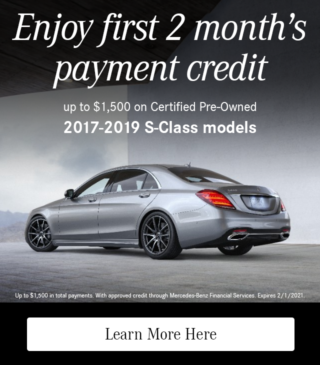 Enjoy First 2 Month's Payment Credit on CPO 2017-19 S-Class models