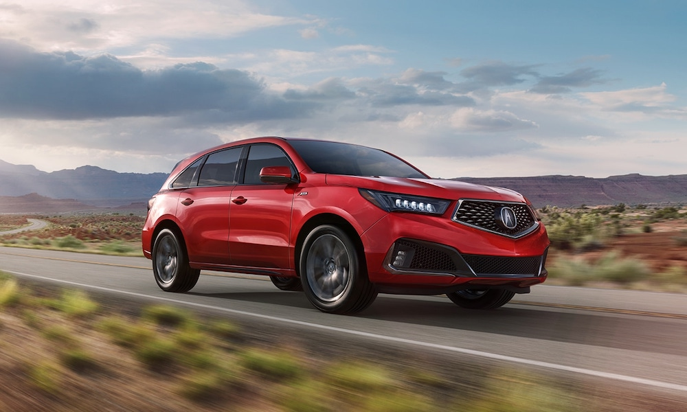 Red 2020 Acura MDX A-Spec® on Open Highway