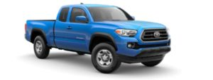 A blue 2020 Toyota Tacoma is facing right.