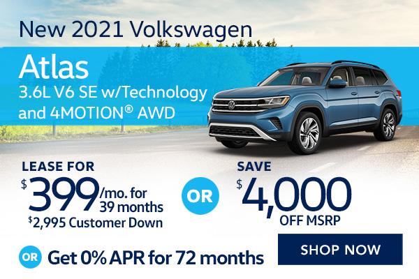 New 2021 Volkswagen Atlas 3.6L V6 SE w/Technology and 4MOTION® AWD