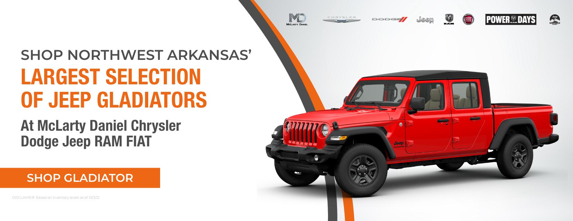 Shop Northwest Arkansas' largest selection of Jeep Gladiators at McLarty Daniel Chrysler Dodge Jeep RAM FIAT!