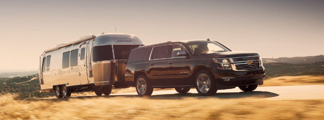 2020 Chevy Suburban pulling a trailer