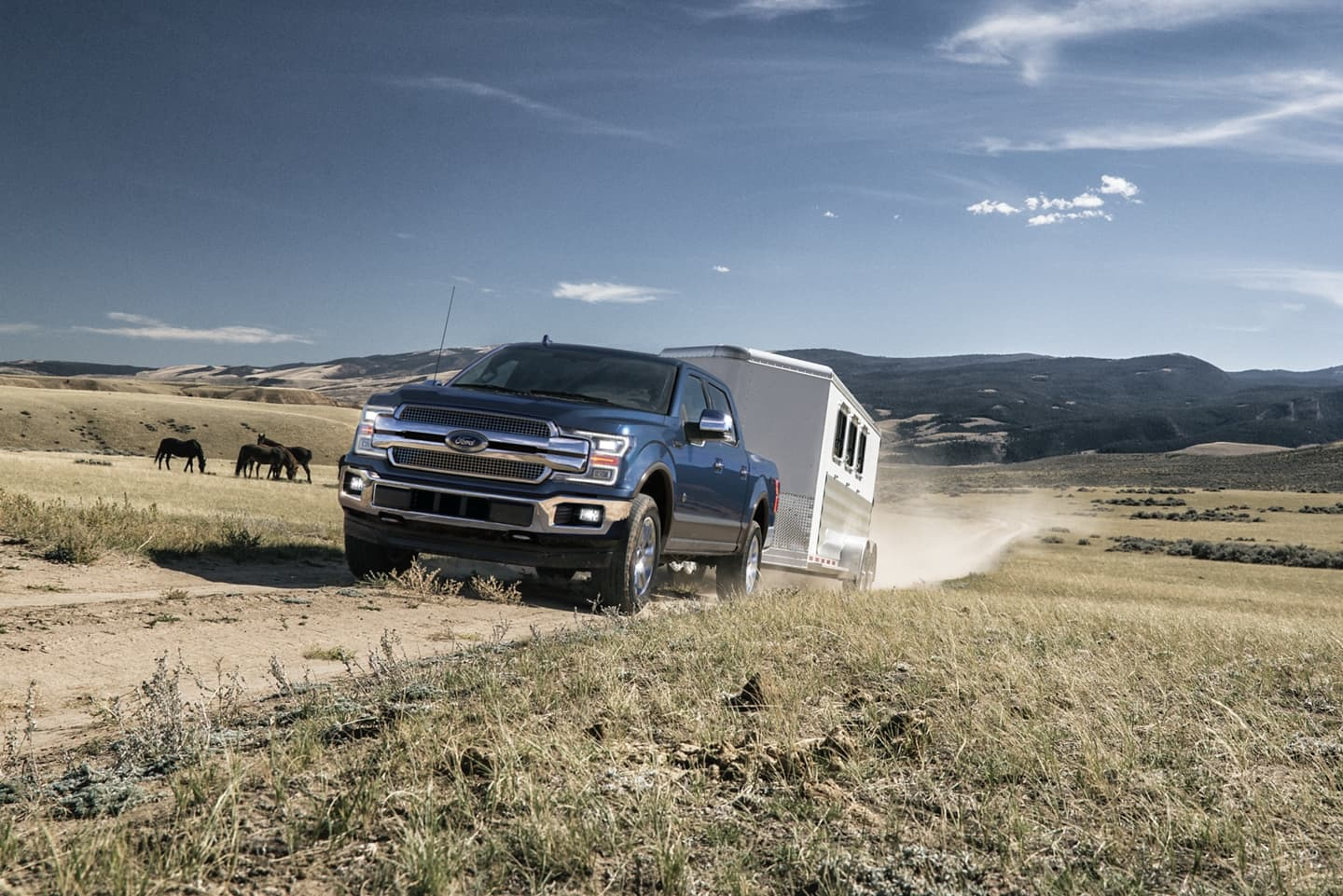 2020 Ford F-150 King Ranch® Supercrew® towing a trailer