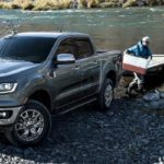 People towing boat out of water with 2020 Ford Ranger
