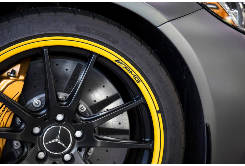 AMG Mercedes-Benz Tire with yellow rim