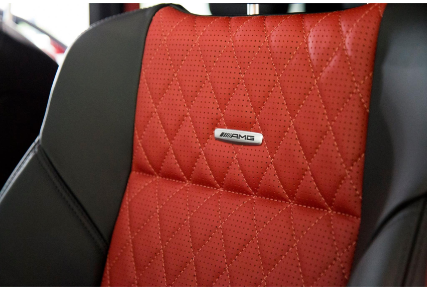 AMG red seat with leather stitching