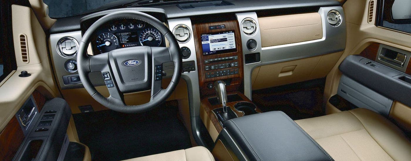 The interior of a 2012 Ford F-150 is shown.