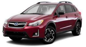 A red 2017 used Subaru Crosstrek is facing left.