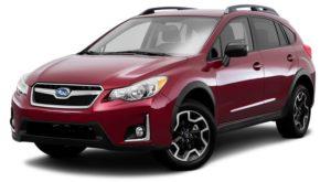 A red 2017 used Subaru Crosstrek is facing left.