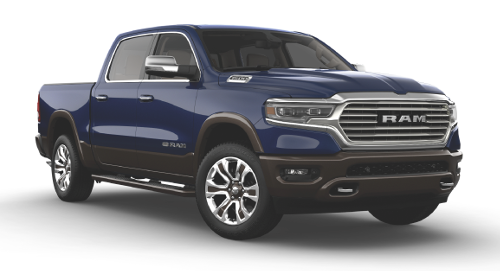 A Patriot Blue Ram 1500 Rebel Quad Cab
